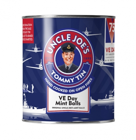 TOMMY TIN – BOLD BLUE DESIGN – UNCLE JOE'S MINT BALLS 148G TIN